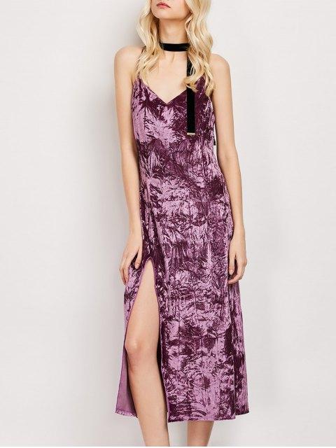 latest Low Cut Velvet Midi Cami Slip Dress - FUCHSIA ROSE XL Mobile