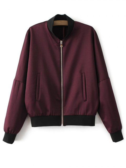outfits Lightweight Zip Bomber Jacket - WINE RED S Mobile