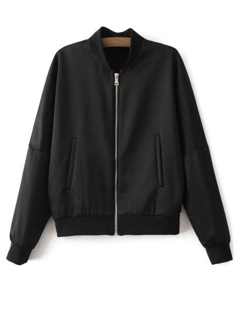 shop Lightweight Zip Bomber Jacket - BLACK L Mobile