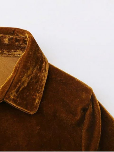 chic Velvet Patch Pocket Shirt - GOLD BROWN S Mobile