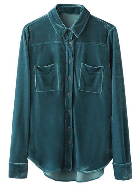 fancy Velvet Patch Pockets Shirt - PEACOCK BLUE L Mobile