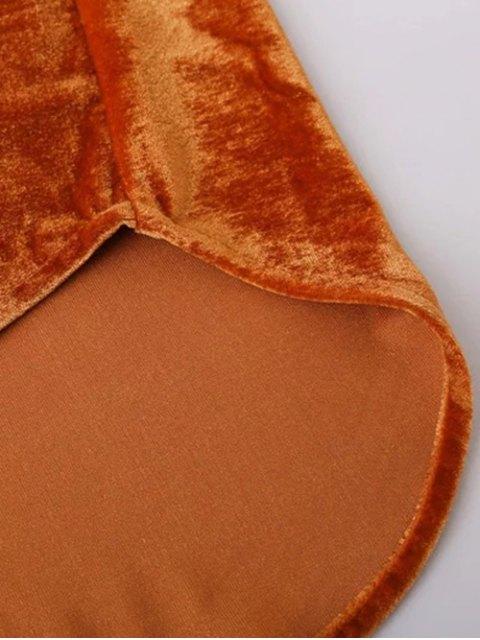 buy Velvet Patch Pockets Shirt - ORANGE RED M Mobile