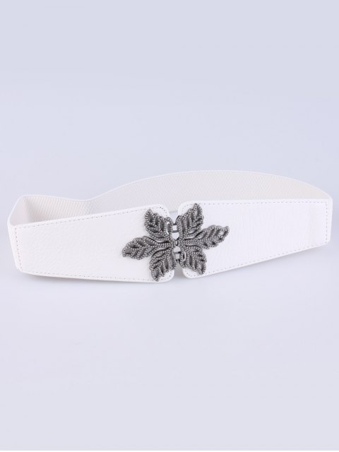 fancy Vintage Floral Elastic Belt - WHITE  Mobile