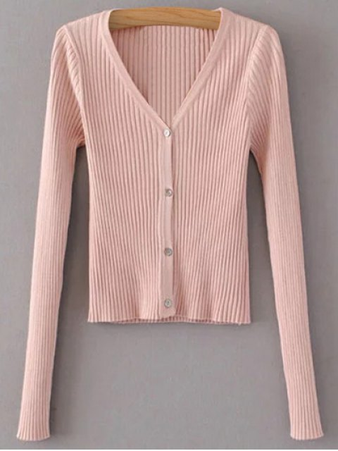 online Buttons Cropped Ribbed Cardigan - PINK ONE SIZE Mobile