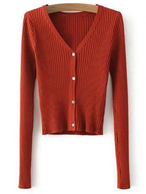 new Buttons Cropped Ribbed Cardigan - JACINTH ONE SIZE Mobile