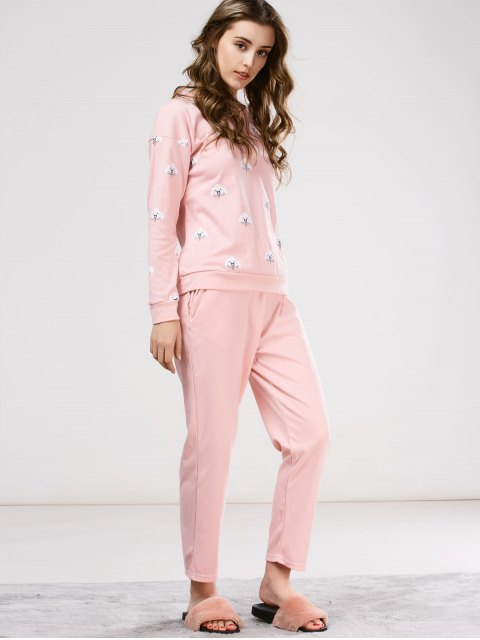 online Printed Tee with Pants Loungewear - PINK 2XL Mobile
