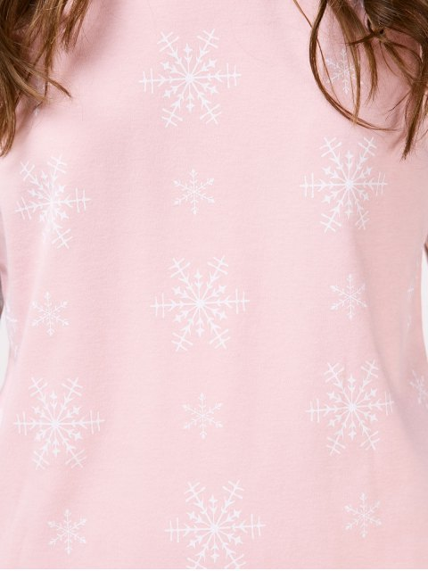 hot Snowflake Tee with Pants Loungewear - PINK AND GREY XL Mobile