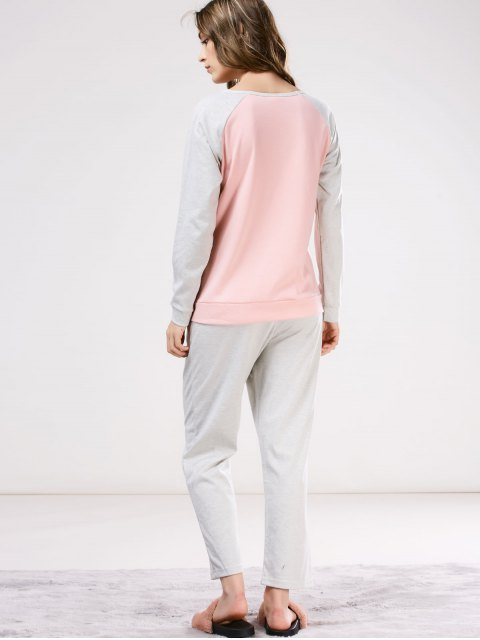 unique Two Tone Printed Tee with Pants Loungewear - PINK AND GREY M Mobile