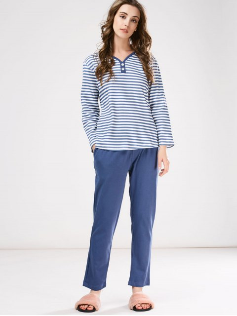ladies Striped Tee with Pants Loungewear - BLUE L Mobile