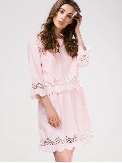 trendy Lace Panel Scalloped Sleep Dress - PINK ONE SIZE Mobile