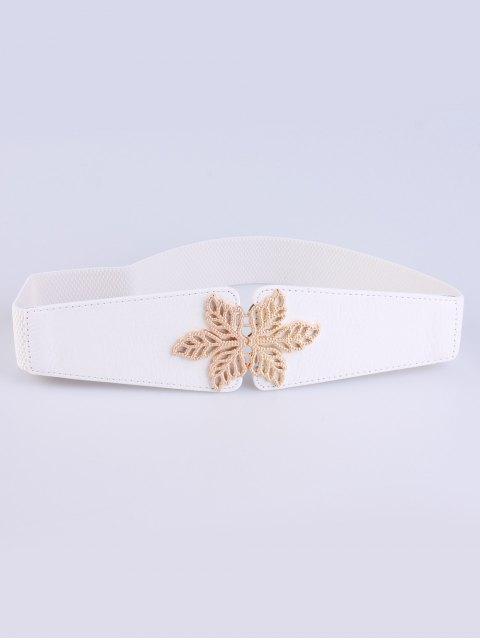 affordable Hollowed Floral Elastic Belt - WHITE  Mobile