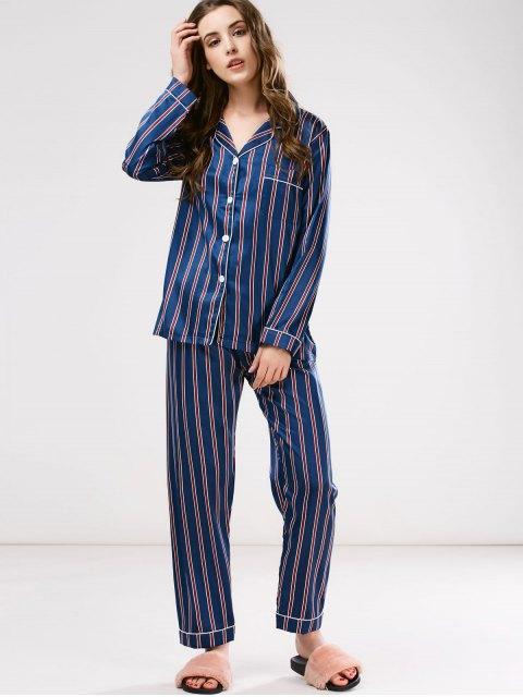 buy Cotton Striped Pajamas Set - BLUE L Mobile