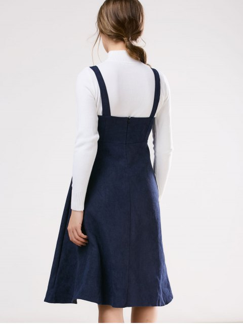 affordable Embroidered Pinafore A-Line Dress With Knitwear - DEEP BLUE L Mobile