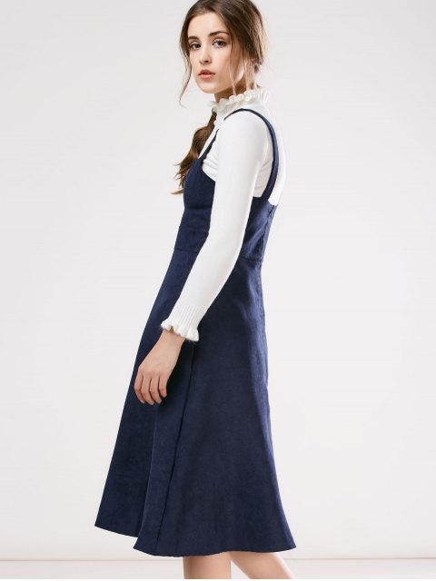 women Faux Suede Pinafore A-Line Dress With Fitting Knitwear - BLUE L Mobile