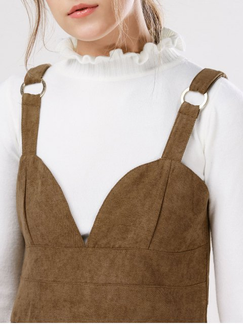 lady Faux Suede Pinafore A-Line Dress With Fitting Knitwear - KHAKI L Mobile