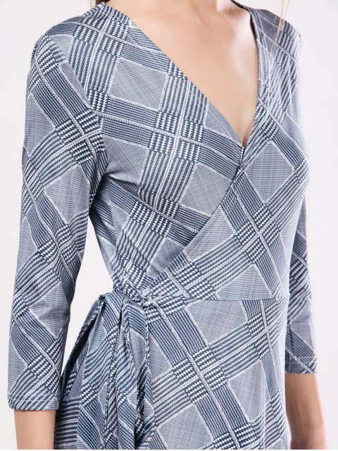 new Checked Wrap A-Line Dress - GRAY ONE SIZE Mobile