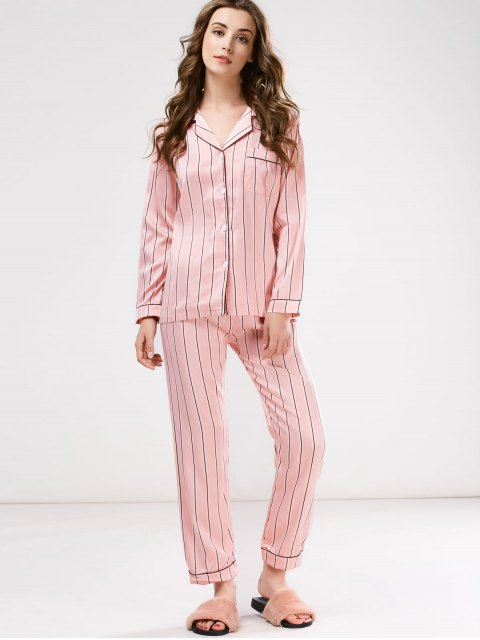 sale Cotton Striped Pajamas Set - PINK M Mobile