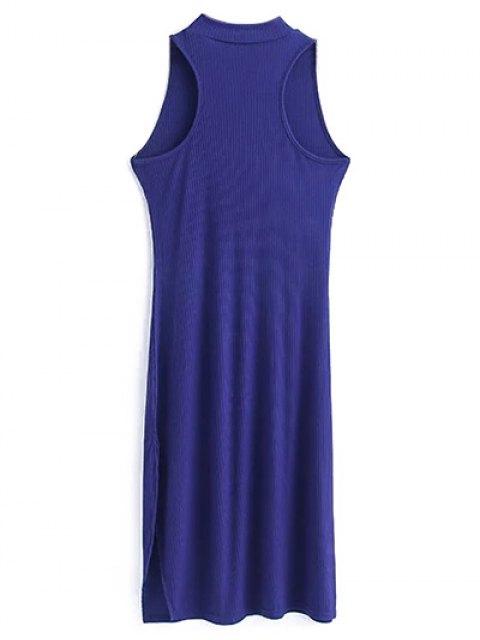 unique Side Slit Sleeveless Mock Neck Dress - SAPPHIRE BLUE S Mobile