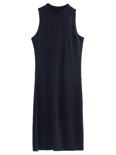 women Side Slit Sleeveless Mock Neck Dress - BROWN M Mobile