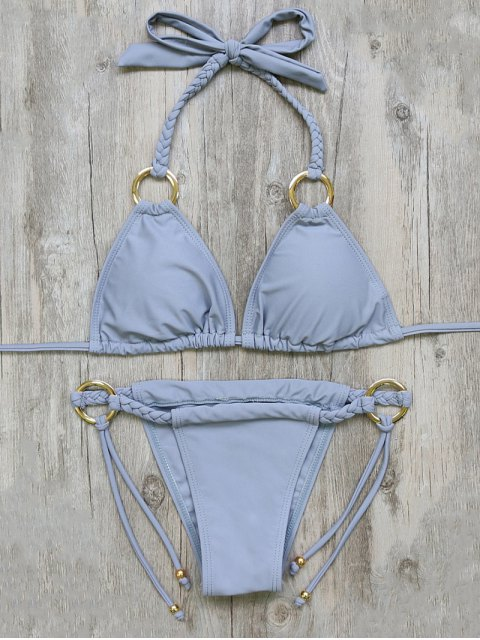 outfits Braided Padded String Bikini Set - GRAY S Mobile