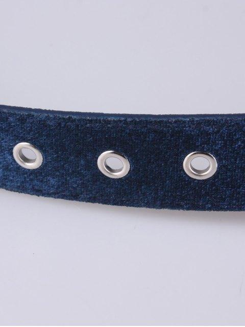 hot Faux Leather Velvet Belt - BLUE  Mobile