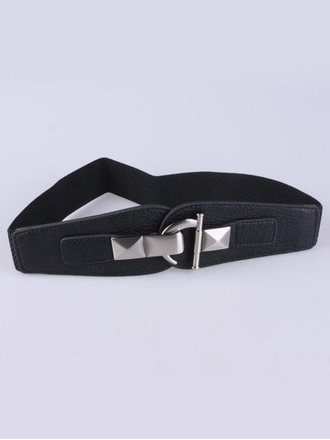 shops Hook Buckle Elastic Belt - BLACK  Mobile