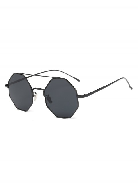 outfits Retro Crossbar Polygonal Metal Sunglasses - BLACK  Mobile