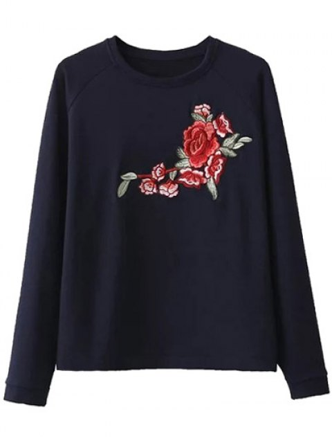 outfits Floral Embroidered Raglan Sleeve Sweatshirt - PURPLISH BLUE S Mobile