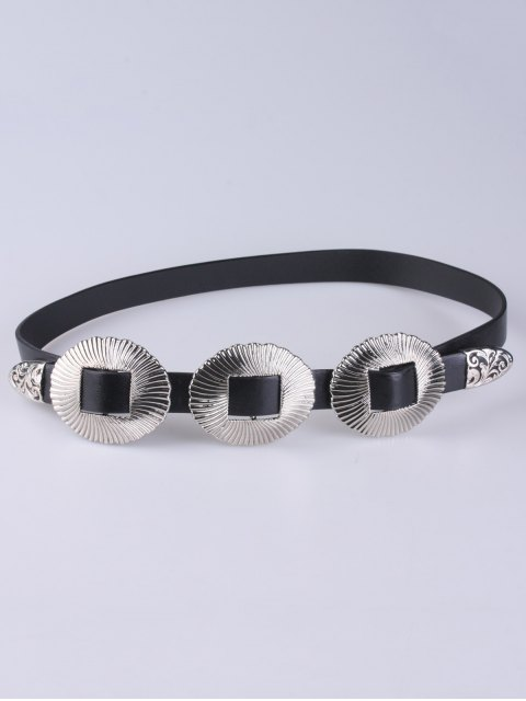 sale Scallop Faux Leather Belt - SILVER  Mobile