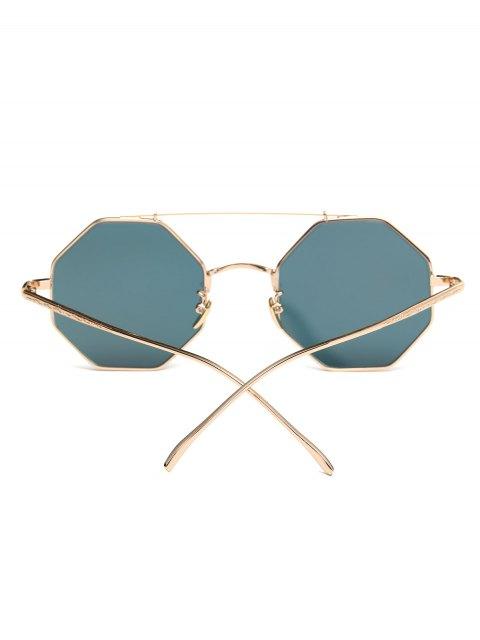 shop Crossbar Polygonal Metal Mirrored Sunglasses - SHALLOW PINK  Mobile