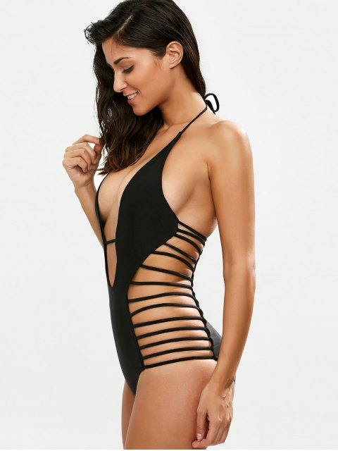 ladies Strappy Plunging Neck Swimsuit - BLACK M Mobile
