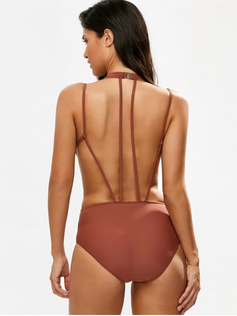 buy Strappy Caged High Leg Swimsuit - CLARET 2XL Mobile