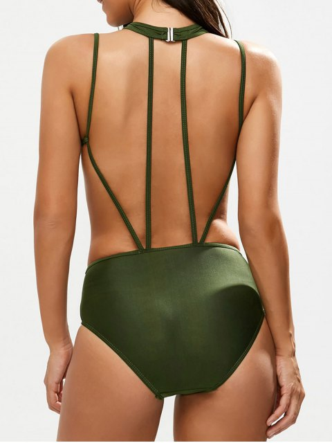 best Strappy Caged High Leg Swimsuit - ARMY GREEN L Mobile
