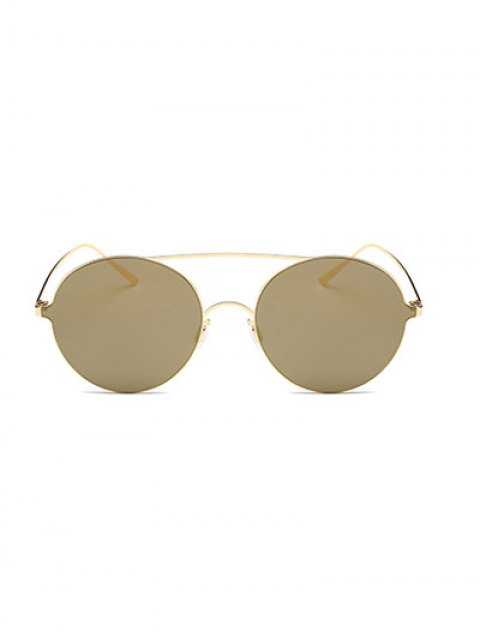 chic Crossbar Metal Round Mirrored Sunglasses -   Mobile