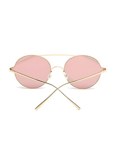 sale Crossbar Metal Round Mirrored Sunglasses - PINK  Mobile