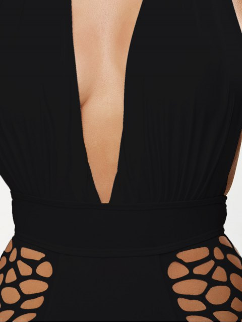 new High Waisted Plunge Neck Hollow Out Tummy Control Swimsuit - BLACK L Mobile