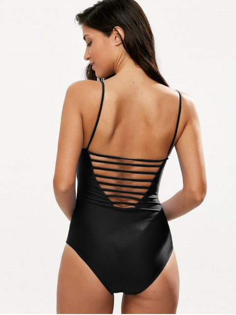 outfits Hollow Out One-Piece Swimwear - BLACK XL Mobile