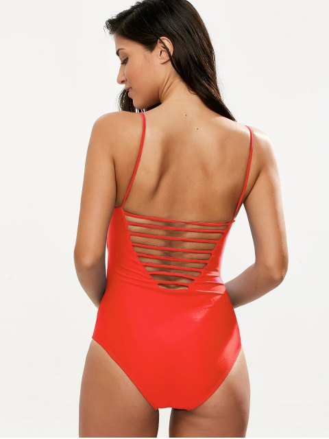 fancy Hollow Out One-Piece Swimwear - RED S Mobile