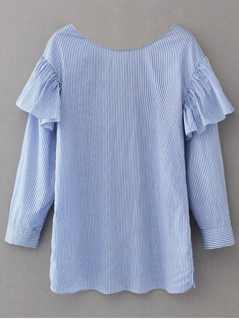 fancy V Neck Ruffle Striped Pullover Shirt - BLUE S Mobile
