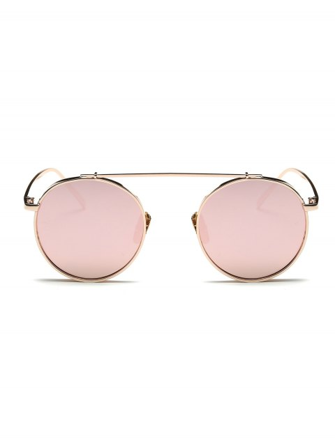 buy Chunky Frame Round Mirrored Sunglasses - PINK  Mobile