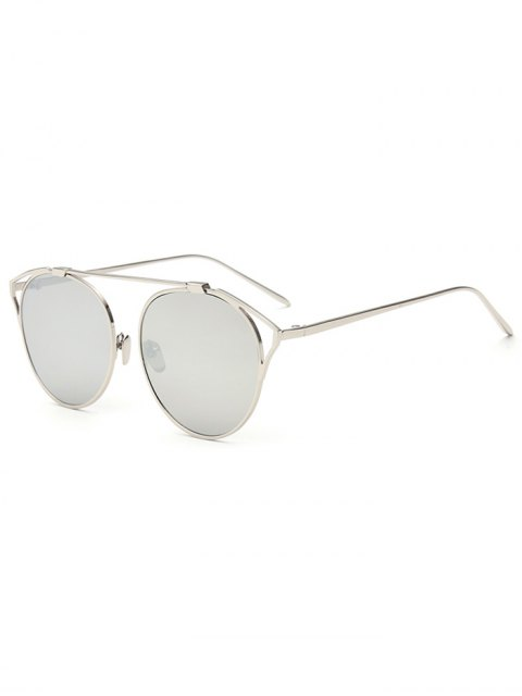 latest Hollow Out Metal Cat Eye Mirrored Sunglasses - SILVER  Mobile