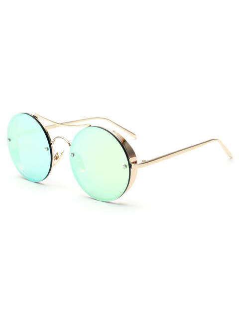 fancy Chunky Round Frame Mirrored Sunglasses - LIGHT GREEN  Mobile