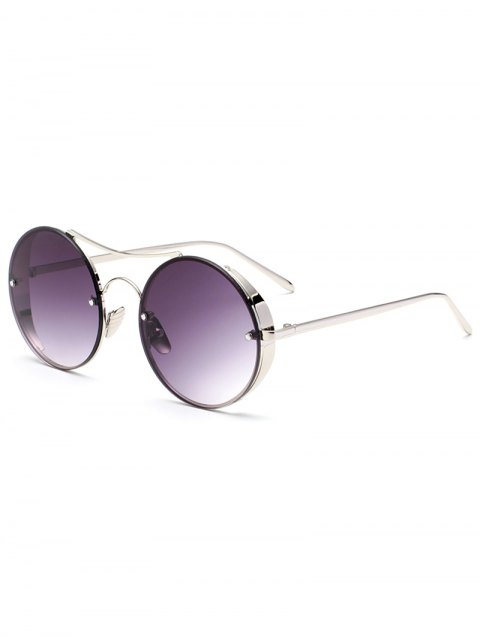 buy Chunky Round Frame Sunglasses - DEEP PURPLE  Mobile