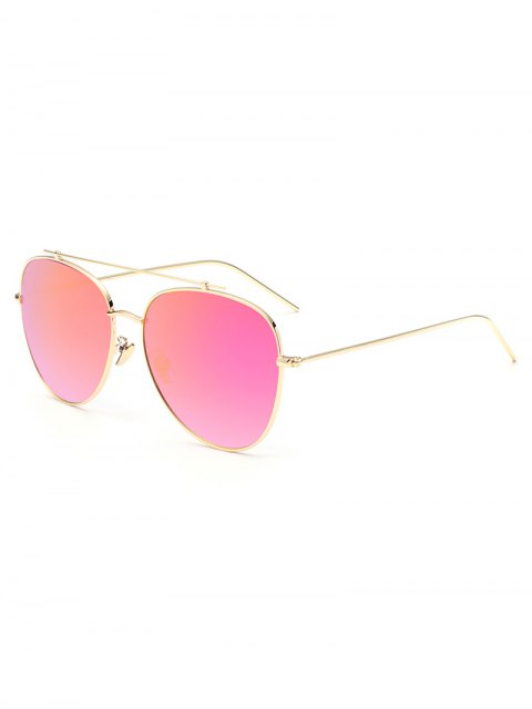 ladies Crossbar Pilot Mirrored Sunglasses - DEEP PINK  Mobile