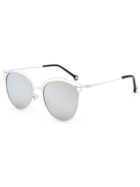 hot Double Rims Cat Eye Mirrored Sunglasses - SILVER  Mobile