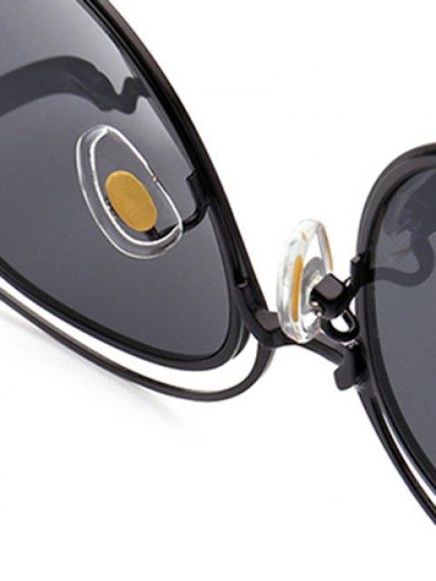 outfits Double Rims Cat Eye Sunglasses - BLACK  Mobile
