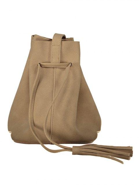 fancy Drawstring Tassel Bucket Bag - KHAKI  Mobile
