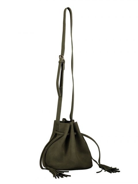 unique Drawstring Tassel Bucket Bag - BLACKISH GREEN  Mobile