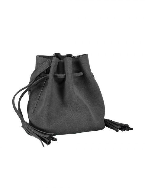 sale Drawstring Tassel Bucket Bag - DEEP GRAY  Mobile