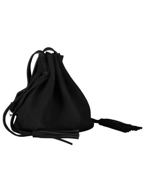 affordable Drawstring Tassel Bucket Bag - BLACK  Mobile